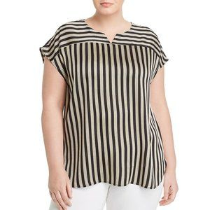 Vince Camuto Plus Striped Cap-Sleeve Blouse NWT